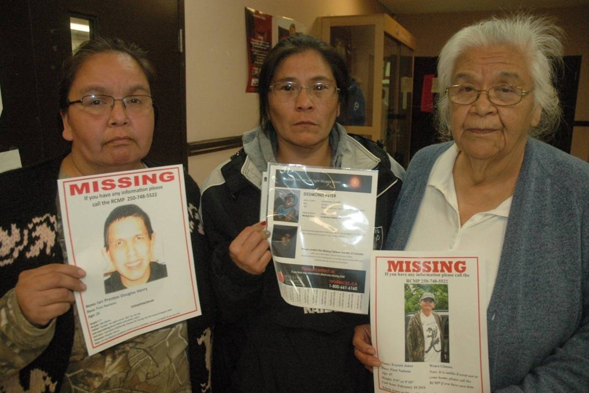 The mothers of three missing First Nations men from the Cowichan Valley want answers to their disappearances. Pictured, from left, is Phyllis Henry, mother of Ian Henry, Liz Louie, mother of Desmond Peter, and Myra Charlie, mother of Everett Jones. (Robert Barron/Citizen)