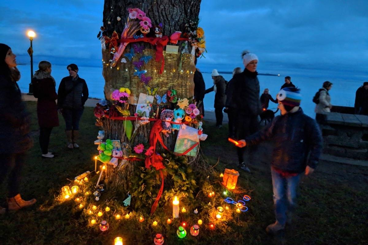 The temporary memorial for Chloe and Aubrey Berry, Dec. 26 2018. (Submitted by Hazel Braithwaite)