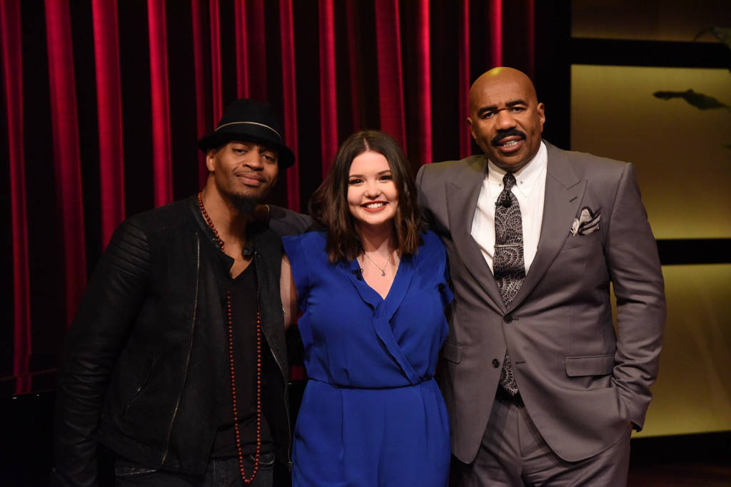 Vancouver Island's Lauren Spencer-Smith stands with Steve Harvey (right) and Rob Lewis—Christina Aguilera's music director. SUBMITTED PHOTO