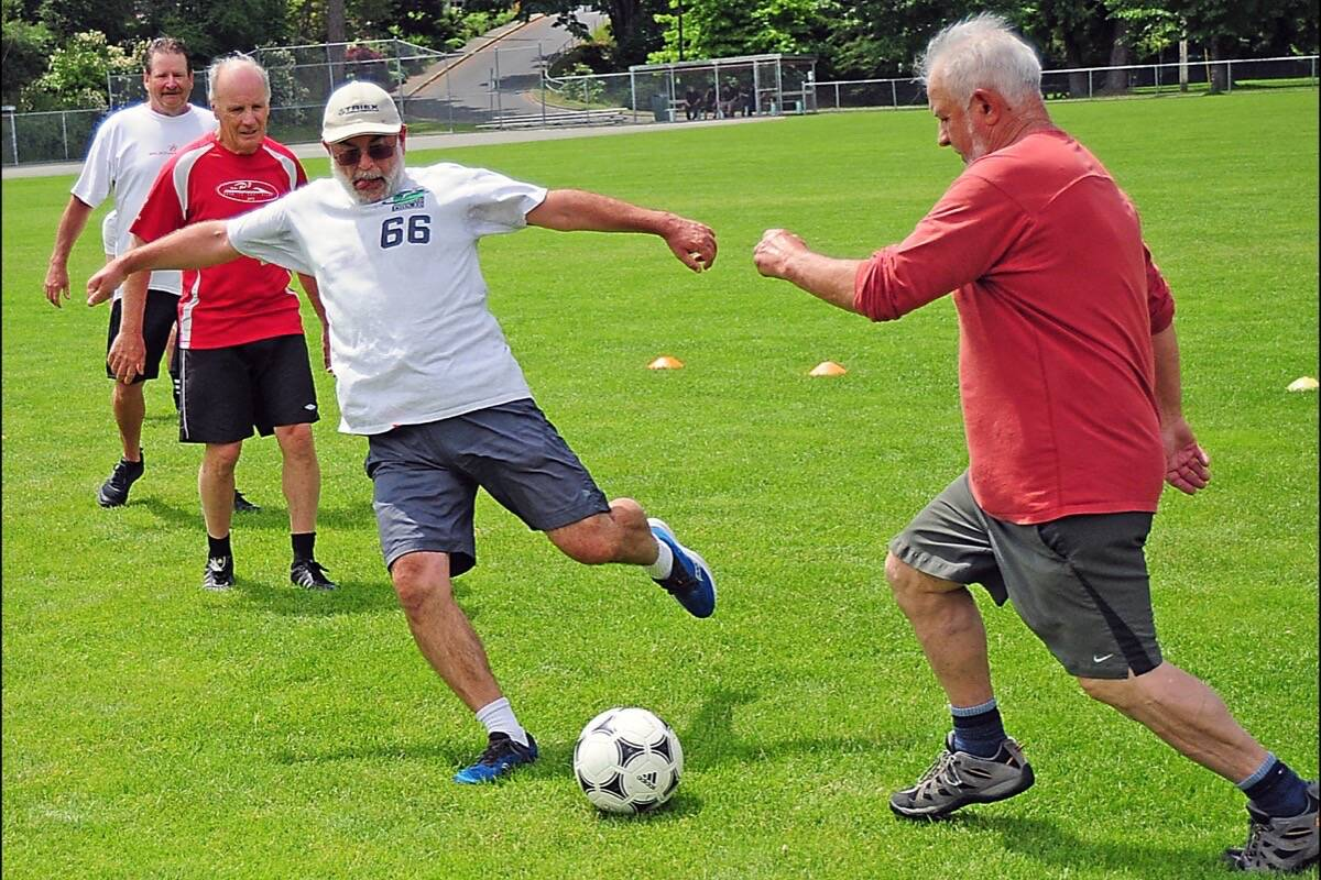Walking soccer has become a popular senior recreational activity. (Michael Briones photo)